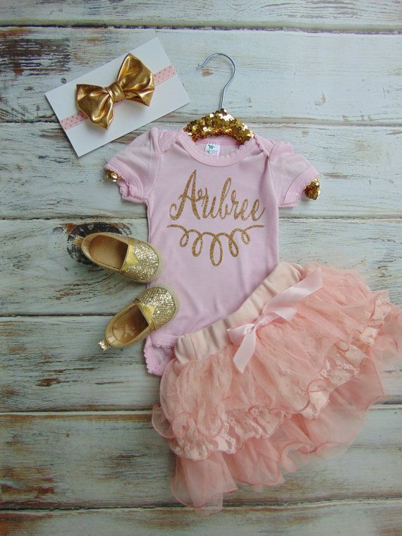 Personalized Name Gold Glitter Bodysuit - Gold Glitter Newborn, Infant, Toddler Shirt - One Piece Only - Ann Marie Avenue - Sparkle Glitter