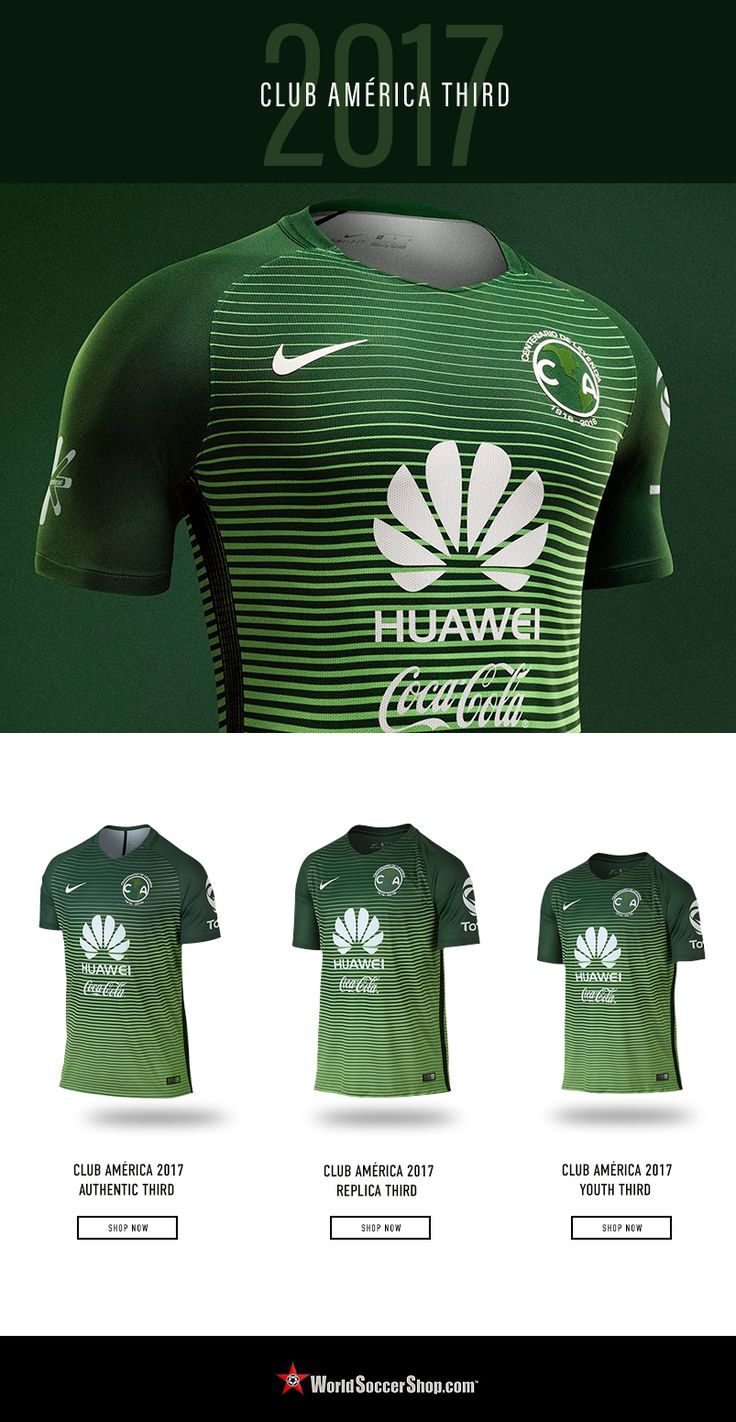 """NEW! Club América 2017 Third.Celebrate 100 years of Club de Fútbol América. The Eagles return to a green third jersey, with a gradient design of dark green fading to light on the body, and dark green sleeves. The logos are white.   During a season of centennial celebrations, Nike has included a special commemorative patch on the jerseys. The iconic continents of the Americas are circled with """"Centenario De Leyenda""""  Available now at WorldSoccerShop.com"""