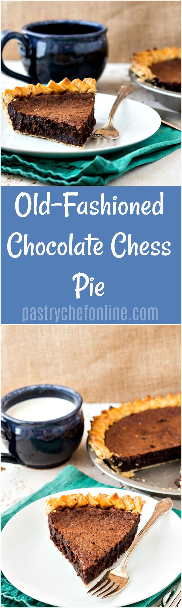 This old-fashioned chocolate chess pie recipe is rich and fudgy yet really easy to make with ingredients you probably already have on hand. Never had chocolate chess pie before? Think of it as a really rich, gooey brownie in a crust! So delicious! | pastr