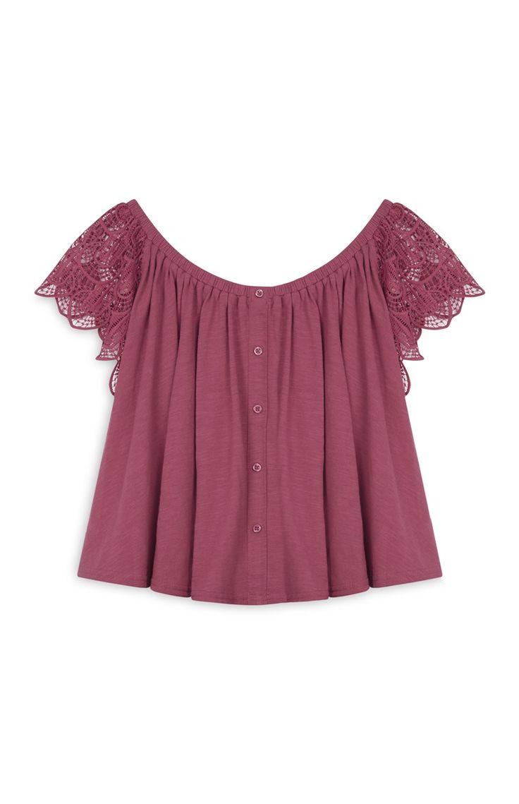 Primark - Blusa amplia con detalle ganchillo rosa