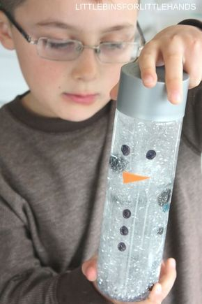 Snowman sensory bottle or maelting snowman activity for kids