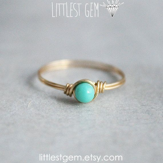 Tiny Turquoise Ring, *FREE SHIPPING*, 14k gold filled, wire wrapped ring, wire wrapped jewelry handmade, unique ring, teal ring, green ring