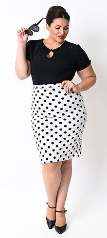 Plus Size White & Black Dot High Waist Stretch Pencil Skirt