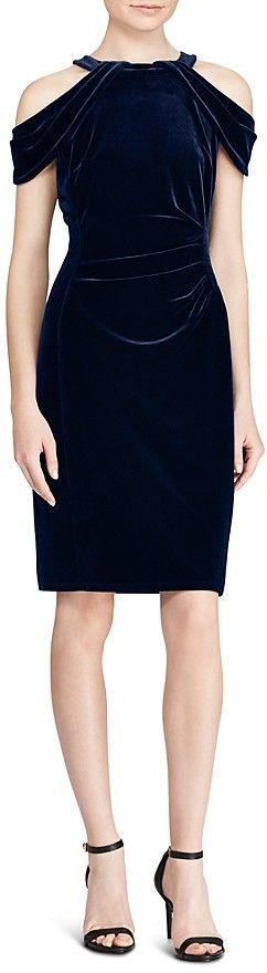 Lauren Ralph Lauren Off-the-Shoulder Velvet Dress