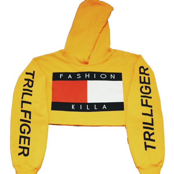 Fashion Killa x Trillfiger Crop Hoodie (Yellow) ($44) ❤ liked on Polyvore featuring tops, hoodies, crop, shirts, hooded pullover, shirt hoodie, baggy shirts, yellow crop top and cropped hoodies