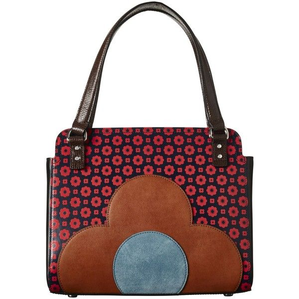 Orla Kiely Jeanette Leather Flower Foulard Bowler Bag ($535) ❤ liked on Polyvore featuring bags, handbags, flower purse, white hand bags, leather handbags, leather hand bags and flower handbags