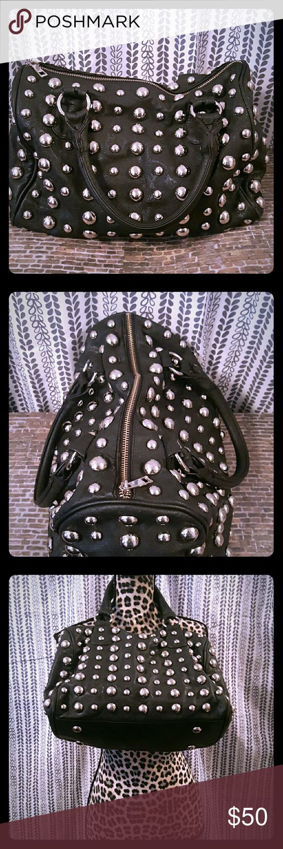 🚨FINAL SALE🚨Punk Leather Studded Bag Black leather, lots of room, the purse is completely covered in round silver studs. Very adorable. In excellent condition. There is no damage to the outside of the purse. The i side material may have a bit of discoloration but nothing major. Not tears and all zippers work. Love Culture Bags Shoulder Bags