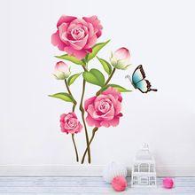 3d Romantické květu samolepky na zeď domácí dekorace DIY obývací pokoj tapety obtisky nástěnný plakát art 4.0 (Čína (pevninská část))