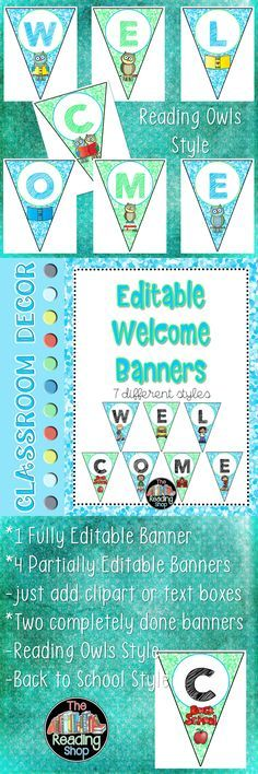 Editable banners in a pretty color scheme for back to school!