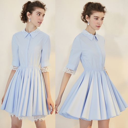 Retro Vintage Blue Short Sleeve Knee Length Mod Rockabilly Shirt Dress SKU-401292