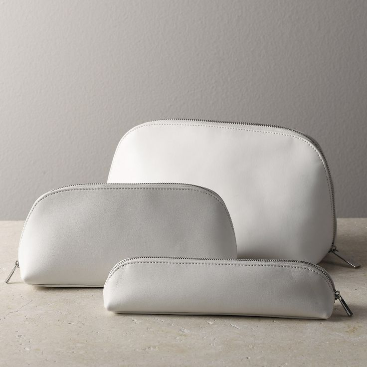 Leather Make-Up Bag - White - Bathroom Accessories | The White Company