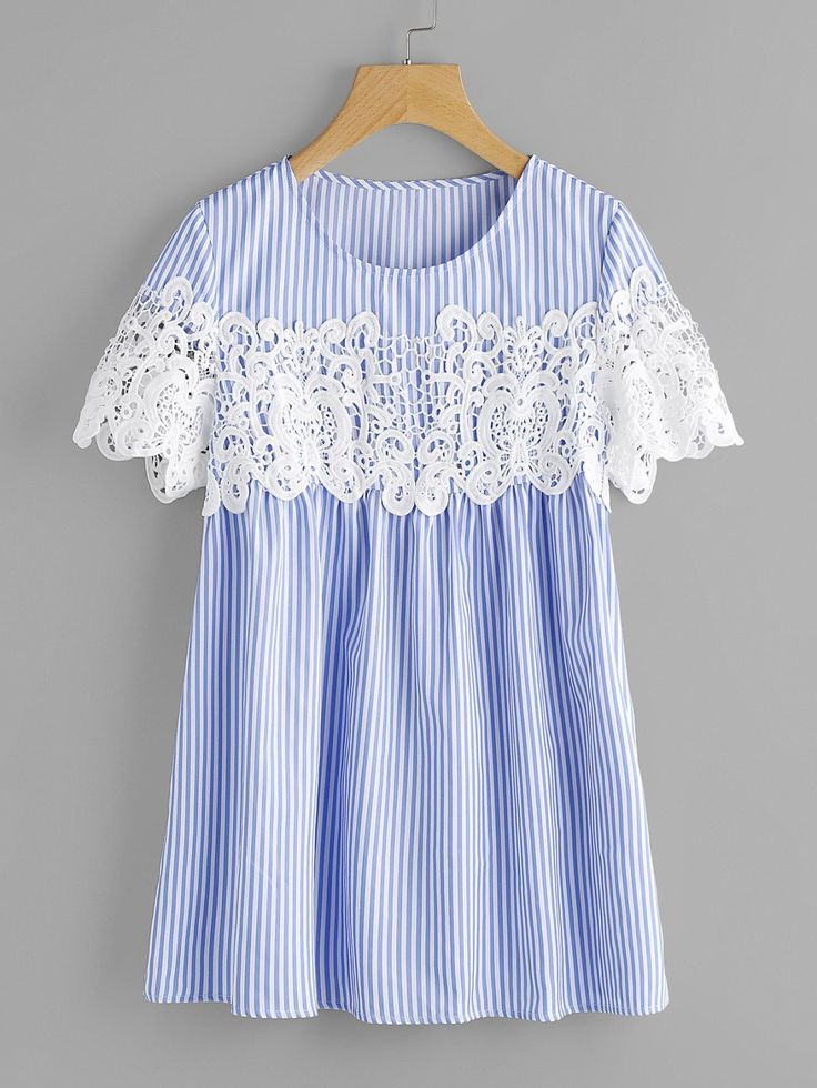Blouses by BORNTOWEAR. Lace Applique Striped Smock Top