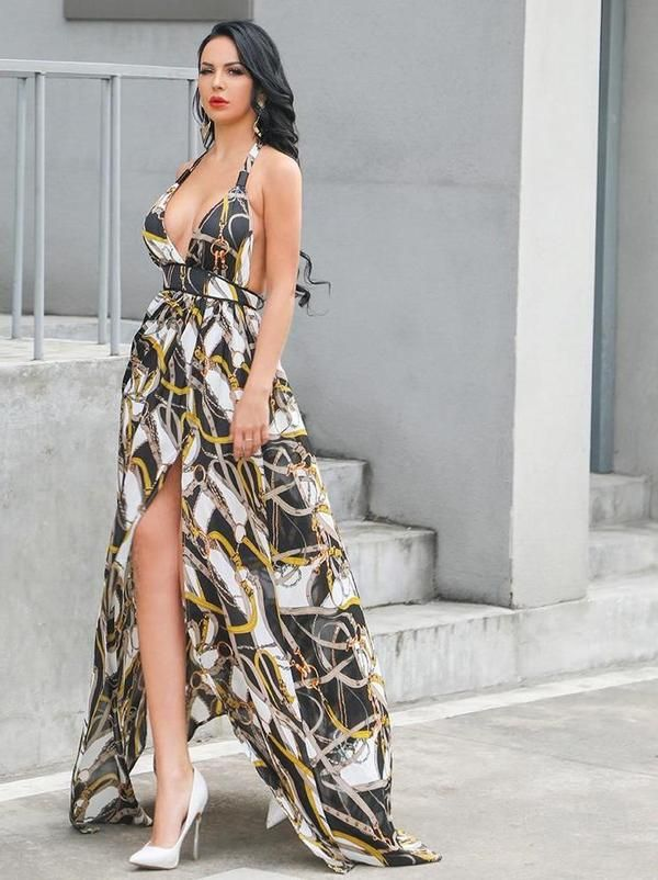 Missord 2019 Women Summer Sexy Deep V Off Shoulder Backless Dresses Female  Two Split Beachwear Maxi Print Dress FT18860 c806a5de707a