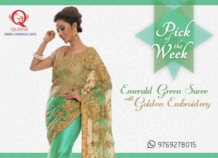 Go green and make a difference with all that glamour. Whatsapp us on +91 97692 78015 to know more or order this ensemble. ‪#‎QueensEmporium‬ ‪#‎Mumbai‬ ‪#‎pickoftheweek‬
