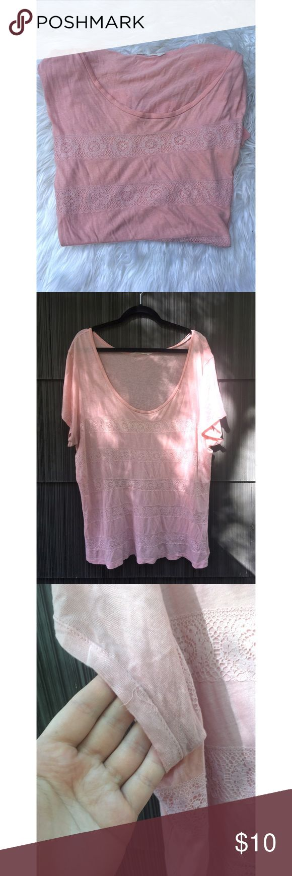 Old Navy Slouchy Top w/ Lace Details a light blush/pink color. worn but still in good condition. a few strings pulling on sleeve as shown in photo. loose and comfy. runs large, could fit a 3x in my opinion. Old Navy Tops Tees - Short Sleeve