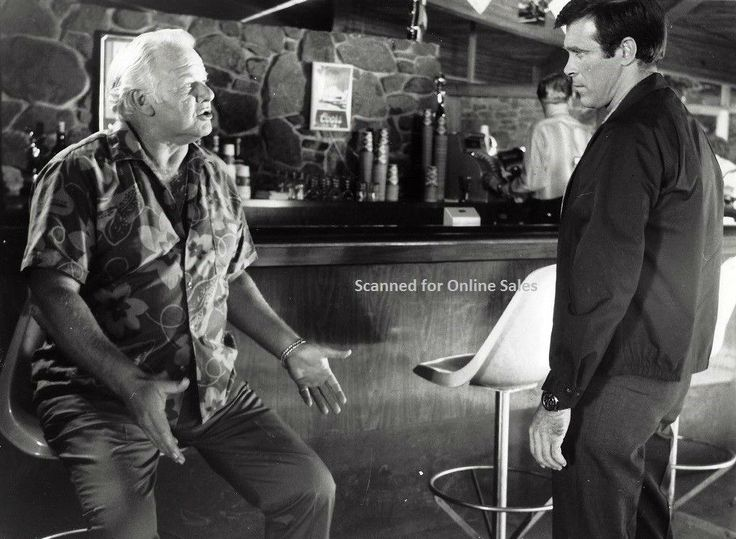 "Chris in a scene with actor Alan Hale, Jr. (remember him as the Skipper on Gilligan's Island?) from the 1969 movie ""Tiger By The Tail"". Click on image to enlarge."