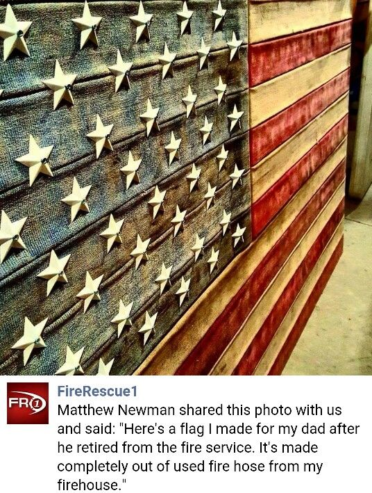 Flag made from retired fire hose. Very cool DIY project! Especially for Firefighters!