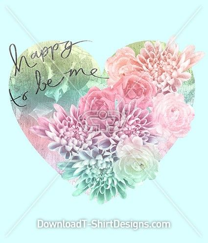 Happy Floral Pastel Heart. Download this design and print on your T-Shirts or products today at: http://downloadt-shirtdesigns.com/downloadt-shirtdesigns-com-2122867.html