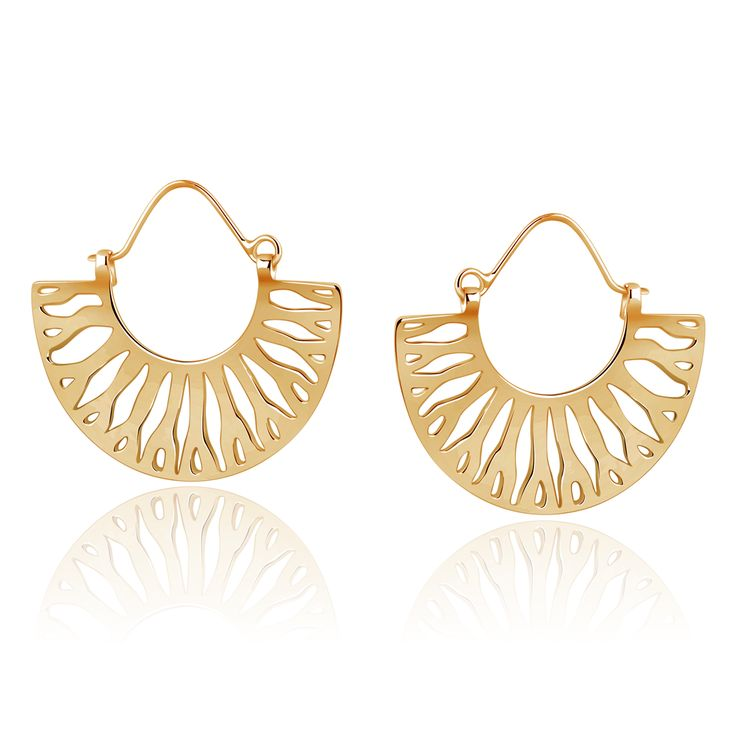 Nelumba earring sterling silver gold plated finish. A rendering of an ancient lily leaf statement earring $135.