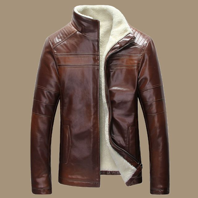 New 2015 Winter Warm Mens Genuine Leather Jacket Men Retro Brown Sheepskin Fur Coat Man Wool Liner Shearling Jackets and Coats