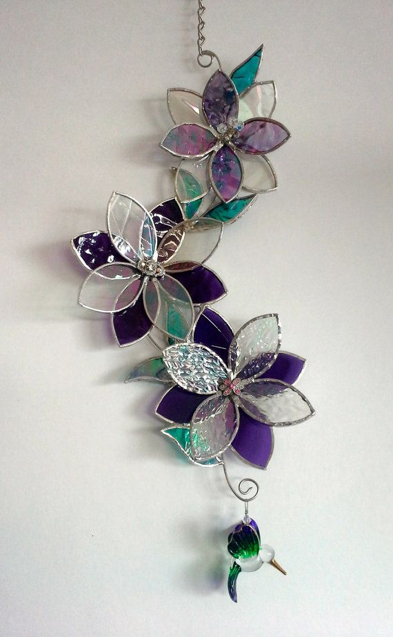 Stained Glass Suncatcher  3D Flowers & by BayCreationsbyWendy, $59.00