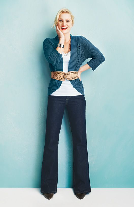 Open Stitch Cardigan Camisole Perforated Floral Belt Classic Bootcut Jean