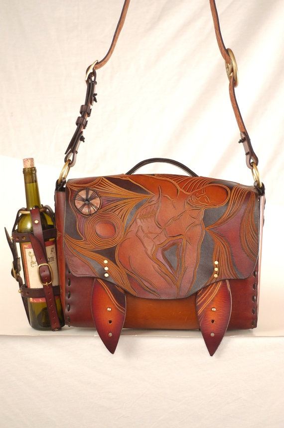 """Carved Messenger Bag - """"Discobolus"""". $1,800.00, via Etsy."""