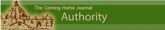 """Authority"" - FREE printable (PDF). This journal studies the Catholic understanding of Authority and the Apostolic succession, in contrast to the mindsets of ""Sola scriptura"" and ""just Jesus and me."" Are these theories supported by the Bible? Great for personal enrichment or as a homeschool or RCIA resource. From the Coming Home Network (www.chnetwork.org)"