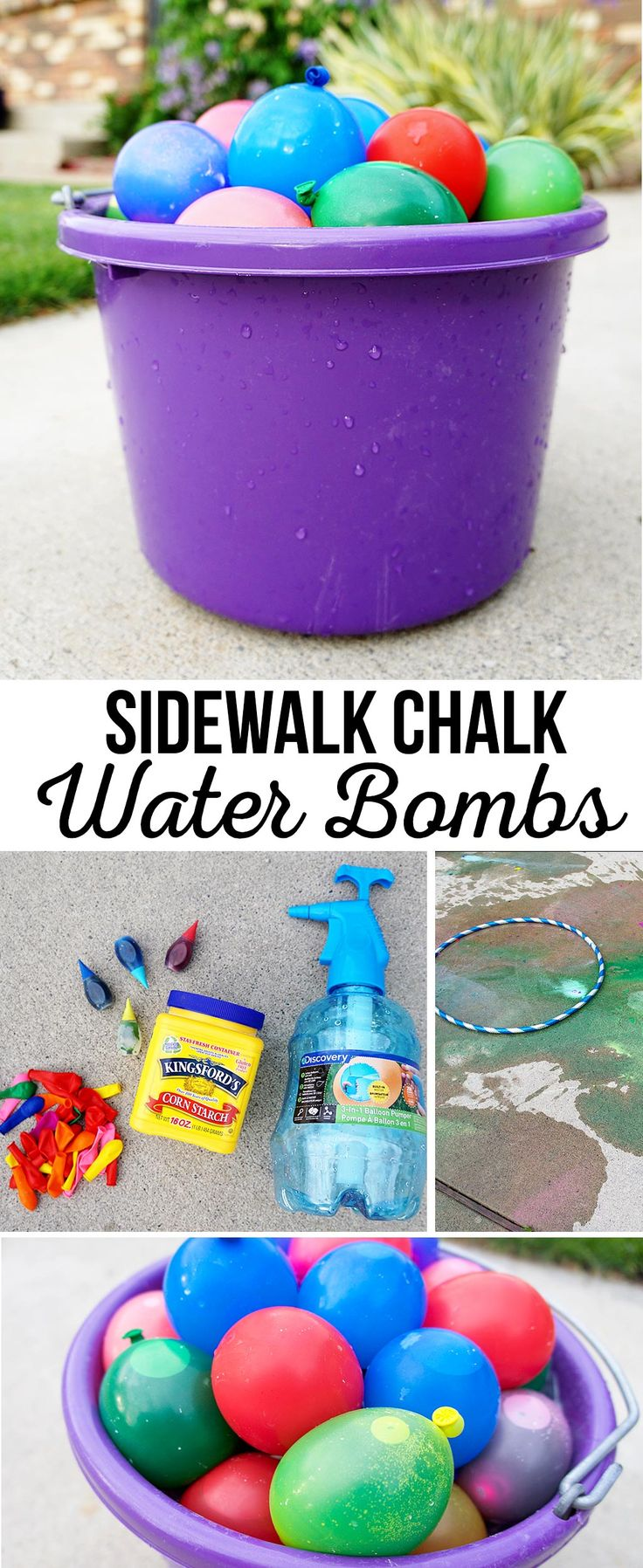 DIY Sidewalk Chalk Water Bombs   Summer Kids Activities