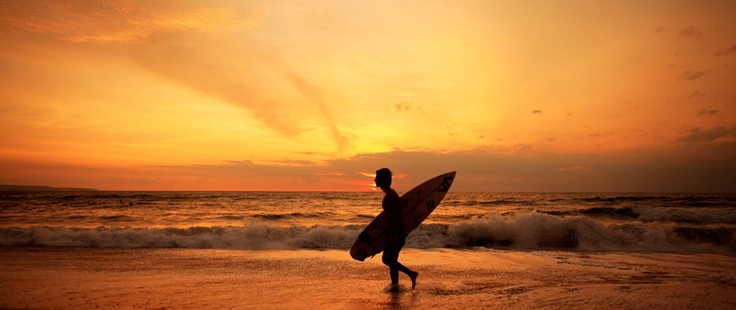 The golden sky at Legian Beach - Bali.