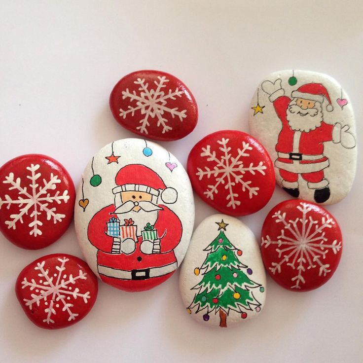 piedras* pintadas adornos de navidad, christmas stones.