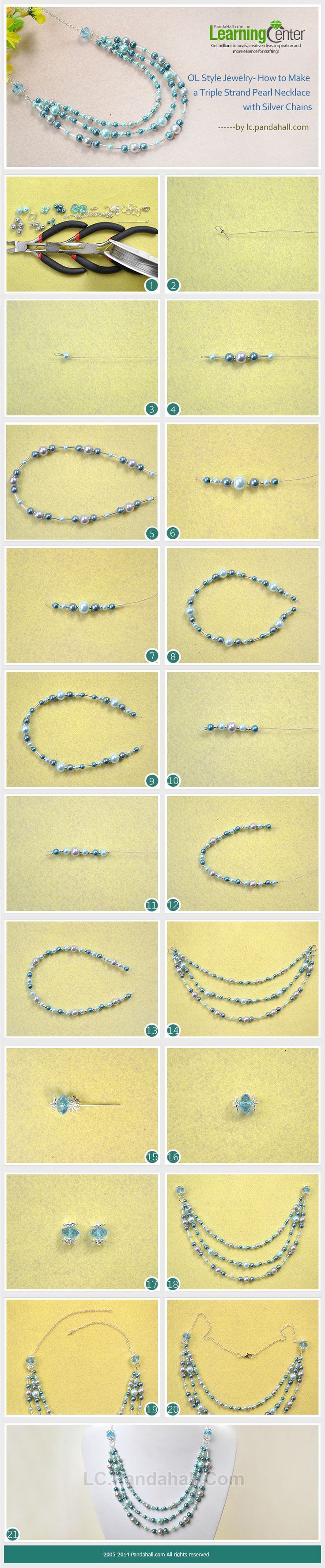OL Style Jewelry- How to Make a Triple Strand Pearl Necklace with Silver Chains