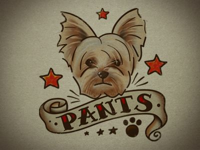 """Andy Pitts    """"a temporary tattoo of my pup Pants to give away at our wedding party! I expect to see lots of Pants neck tats that night!"""""""