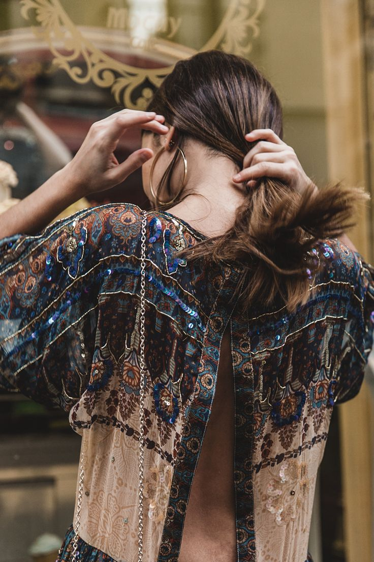 beaded open back blouse. Love the detail!