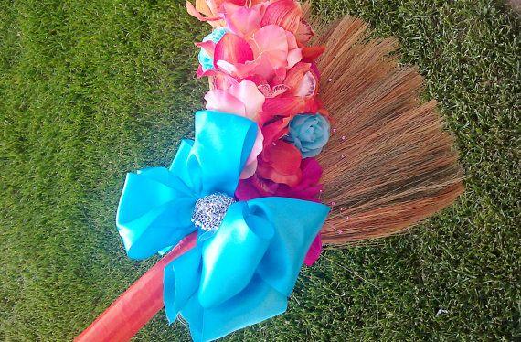 Big Bow Broom Tangerine Wedding Jumping Broom by marayahscreations, $59.00