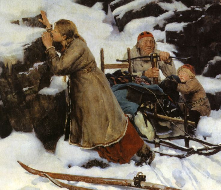 Albert Edelfelt - Burnt Village / Poltettu Kylä - Close-up - Finland