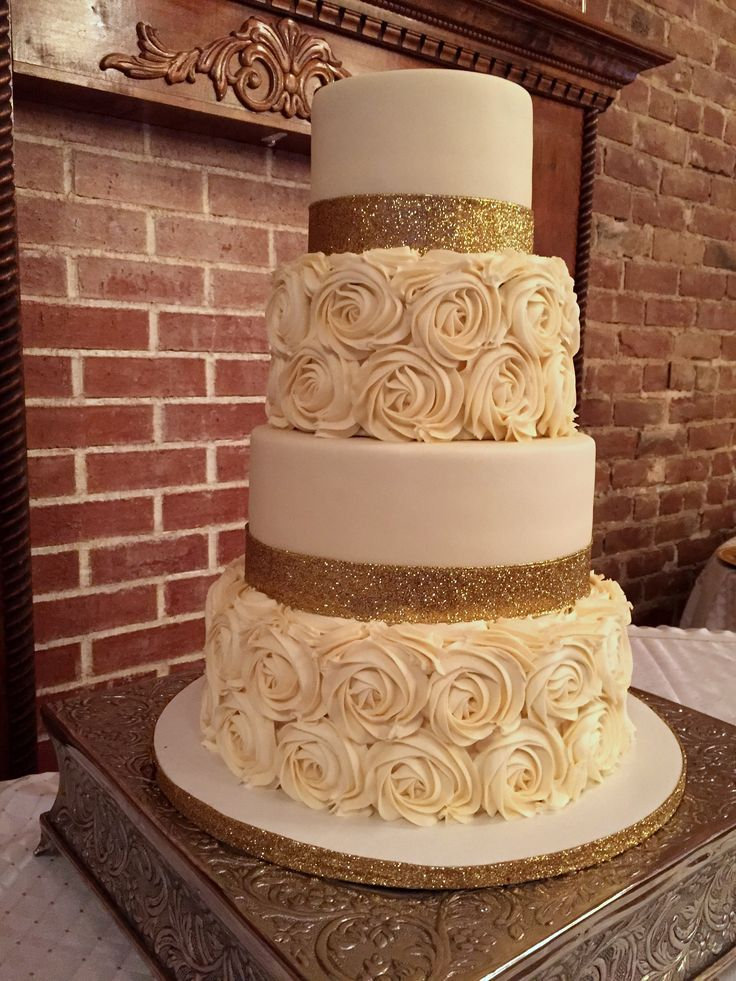 Rosette wedding cake made with Cake Couture fondant and buttercream icing.