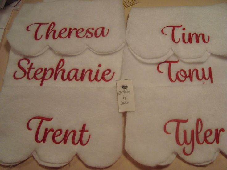Lori used our Waldorf Embroidery Font on these Christmas