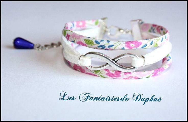 bracelet infini tissu liberty Fairford Rose et Suedine blanc : Bracelet par dafi51