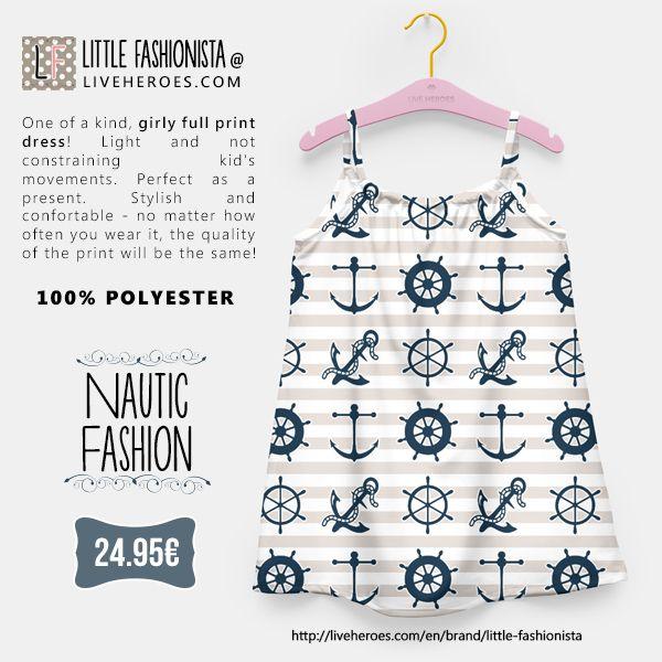 #nautic #nautical #ocean #sea #sailing #boat #yacht #anchor #rudder #rope #ship #preppy #stylish #cute #modern #girldress #dress #fashion #liveheroes #liveheroesshop #littlefashionista