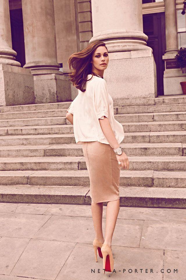 white blouse, pencil skirt.