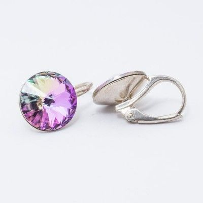 Swarovski Rivoli Earrings 12mm Vitrail Light  Dimensions: length: 1,7cm stone size: 12mm Weight ~ 3,18g ( 1 pair ) Metal : silver plated brass Stones: Swarovski Elements 1122 12mm Colour: Vitrail Light 1 package = 1 pair Price 16,90 PLN(about 4 EUR)
