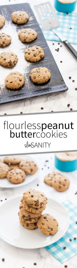 These simple and healthy flourless peanut butter chocolate chip cookies are sure to make any cookie lover swoon! These cookies are made with oats instead of regular flour. | slimsanity.com