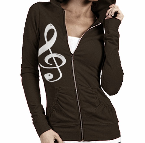 Free Shipping  Music Note Treble Clef Women's Zip by GOFBclothing, $34.00