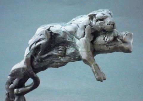 "Bronze Lazy Leopard Sculpture by Edward Waites. This sculpture is from Edward's ""ejw Miniatures"" collection  ""Lazy Leopard"". This sculpture has been produced as a limited edition of just 9, each individually numbered. This is a solid hot cast bronze sculpture using the lost wax process."