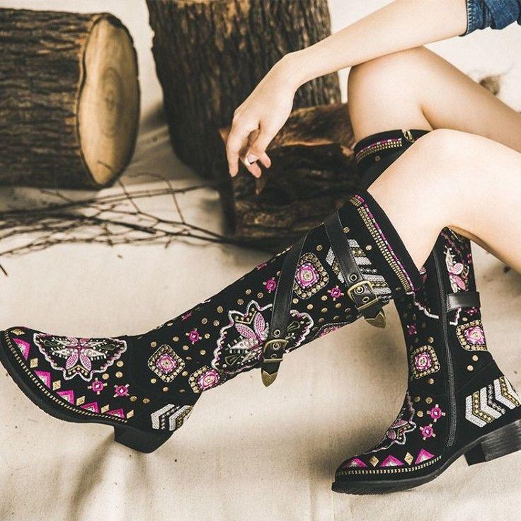 Womens Ladies Flower Buckle Decor Back Zipper Knee High Boots Ethnic Trend Shoes #100New #FashionKneeHigh