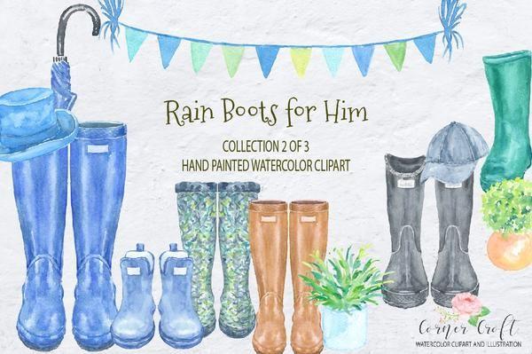 Watercolor Rain Boots For Him Men S Wellies Watercolor