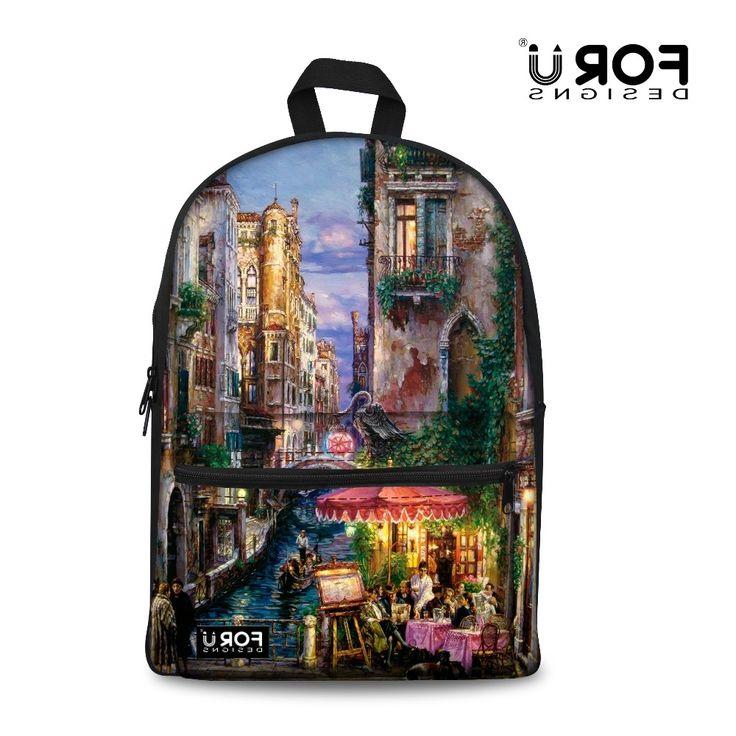 39.99$  Buy here - https://alitems.com/g/1e8d114494b01f4c715516525dc3e8/?i=5&ulp=https%3A%2F%2Fwww.aliexpress.com%2Fitem%2F2016-new-brand-design-Venice-oil-painting-backpacks-for-teenage-girls-women-s-printing-backpack-mochila%2F32680862021.html - 2016 new brand design Venice oil painting backpacks for teenage girls women's printing backpack mochila feminina women bagpack 39.99$