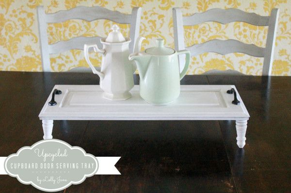 Upcycled cupboard door serving tray by LollyJane.com