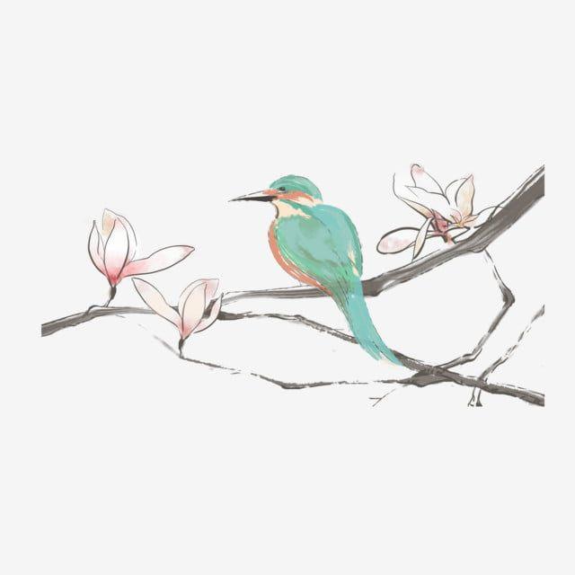 زهرة اليشم فرع الإزهار الطير الأخضر رسم كاريكتوري الخلفية زهرة اليشم فرع الزهور أخضر Png وملف Psd للتحميل مجانا Cartoon Background Green Bird Flowers